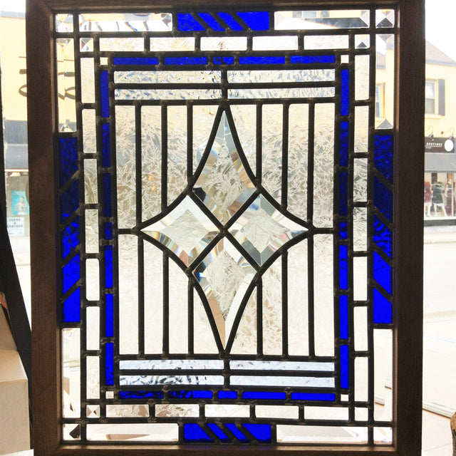 Stained Glass - Four Diamonds Blue