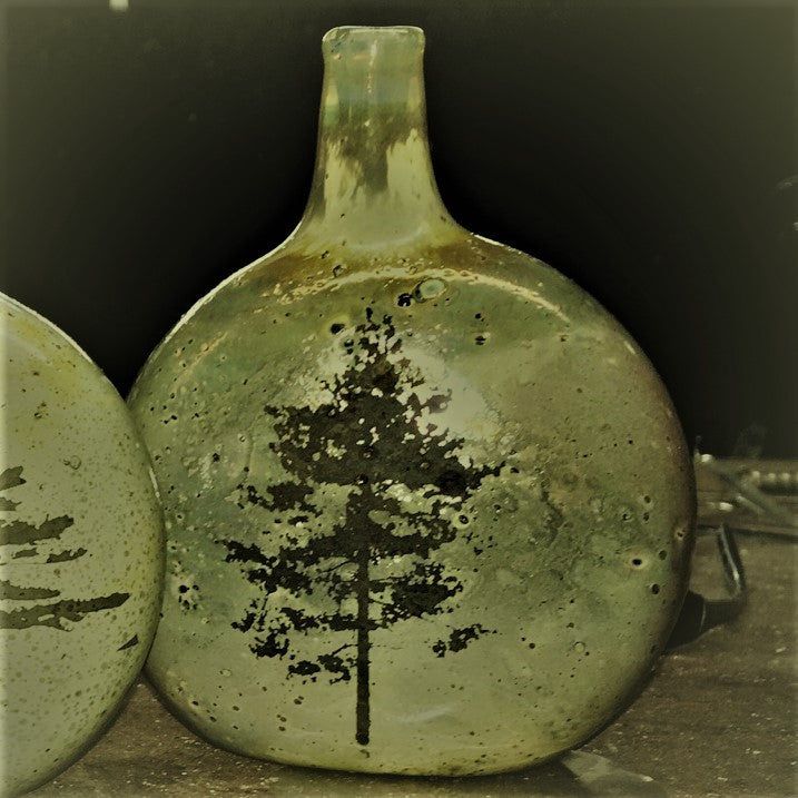 Glass Vase with Maple Tree Silhouette handmade by Canadian artist