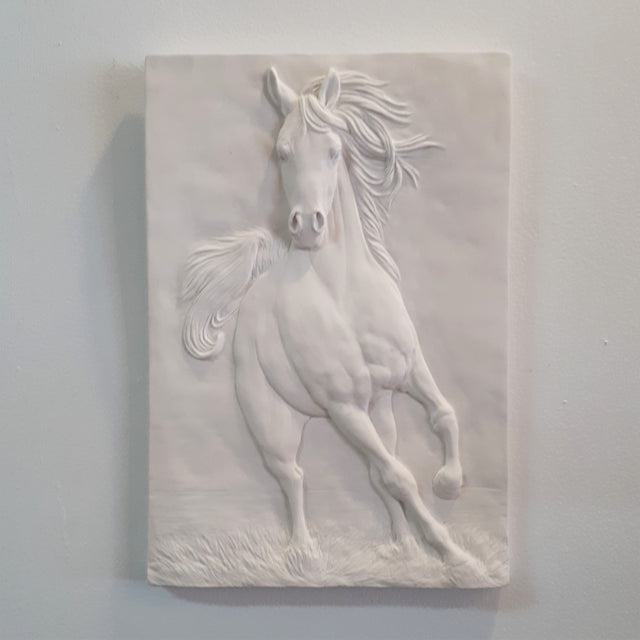 Limited Edition (25) GALLOPING HORSE (white) - Sculpted Cast Handpainted Hydrostone