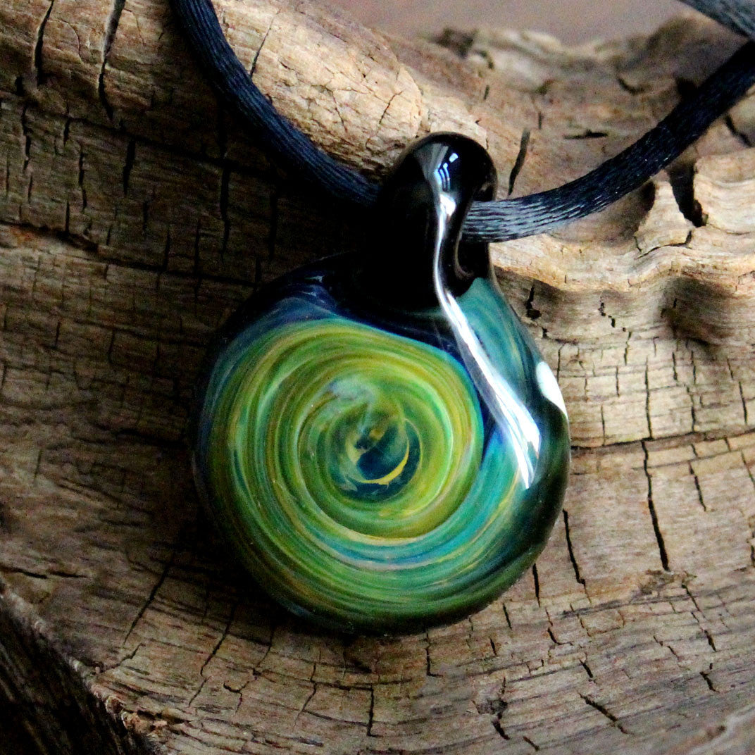 Glass Flame Pendant on Black Silk Cord - Aqua and Yellow
