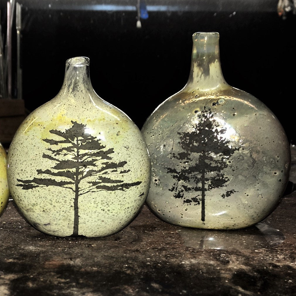 Handcrafted Glass Vase with Tree-Silhouette - Pine Tree