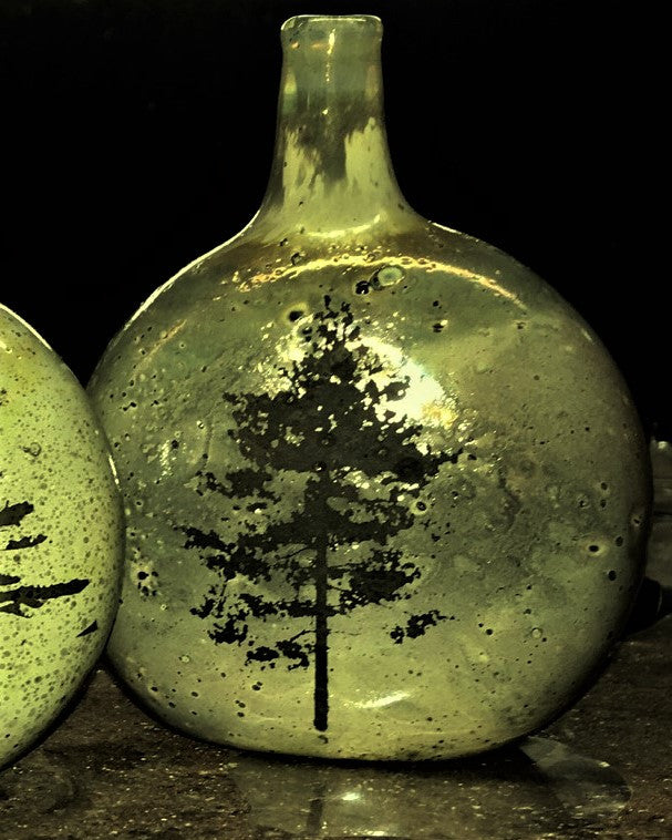 Handcrafted Glass Vase with Tree Silhouette - Maple