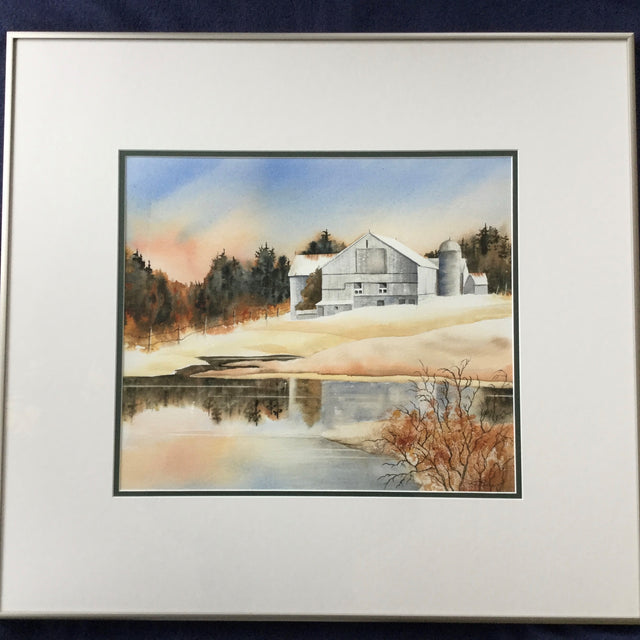 Framed Original Watercolour - Grey Silos Homestead
