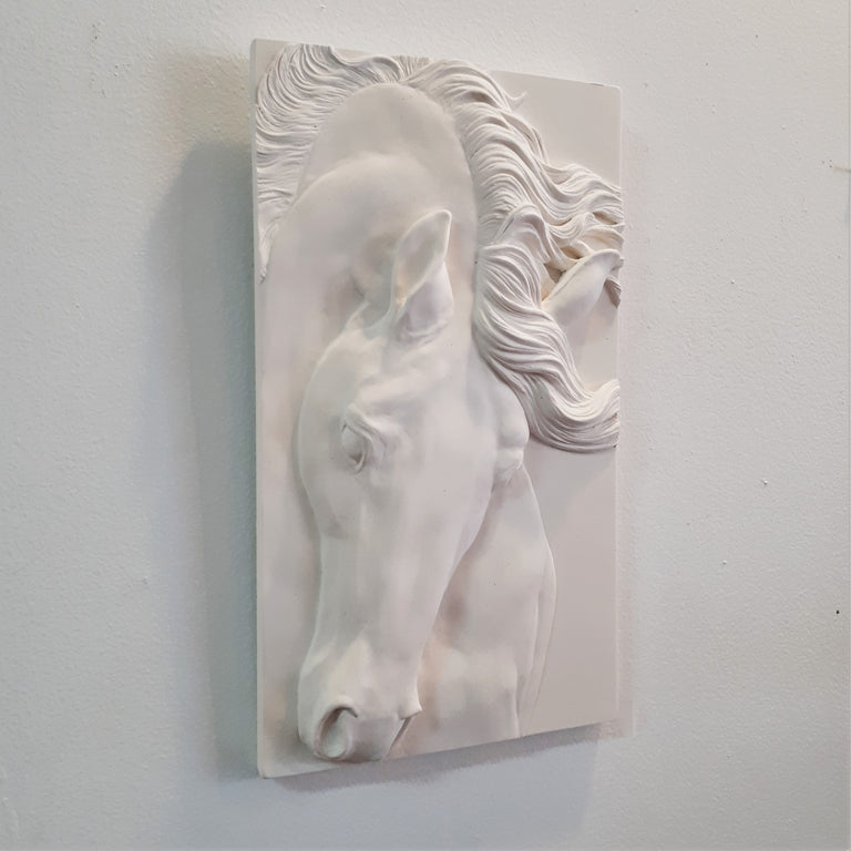 Limited Edition (25) HORSE HEAD (white) - Sculpted Cast Handpainted Hydrostone