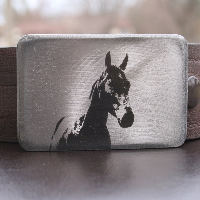 Etched Steel Belt Buckle - Horse