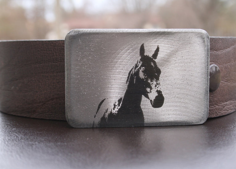 Etched Steel Belt Buckle, handmade by Bayfield, Ontario artist