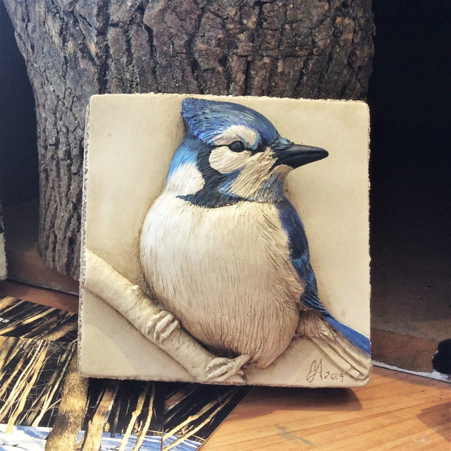 Limited Edition BLUE JAY - Sculpted Cast Handpainted Hydrostone