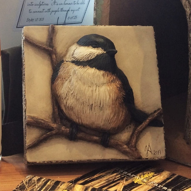 Limited Edition CHICKADEE - Sculpted Cast Handpainted Hydrostone