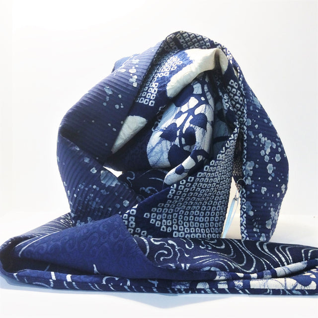 Silk Scarf - Navy White II (Shibori Flowers, Waves, Vine)