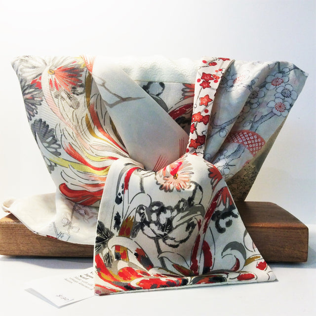Silk Scarf - Cream, Red Accents (Cranes, Pine, Maple, Chrysanthemum)