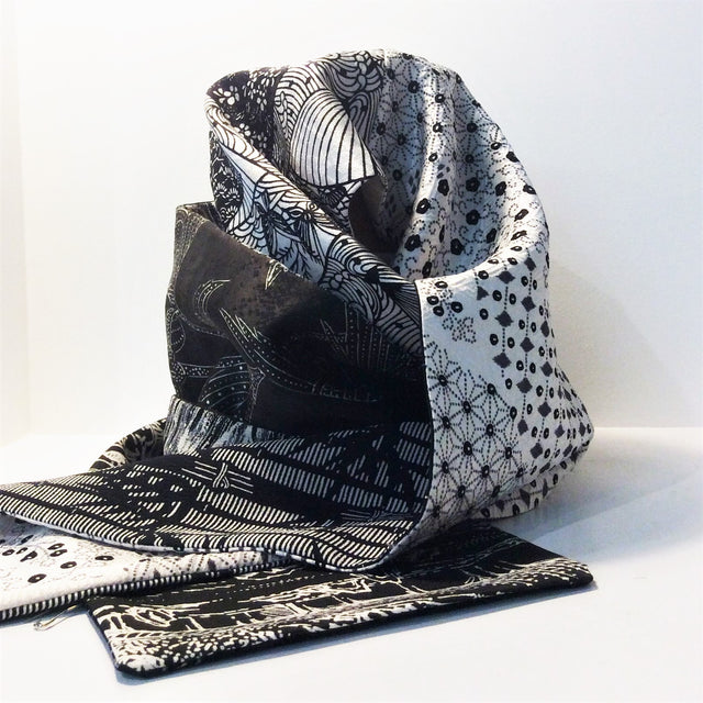 Silk Scarf - Black and White II (Flowers, Fans and Waves)