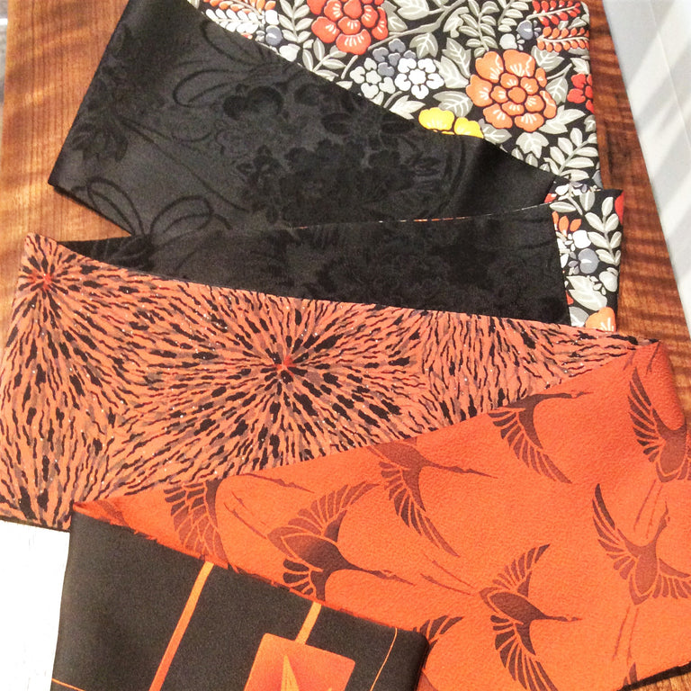 Silk Scarf - Orangey Red, Grey, Black II (Cranes and Flowers)
