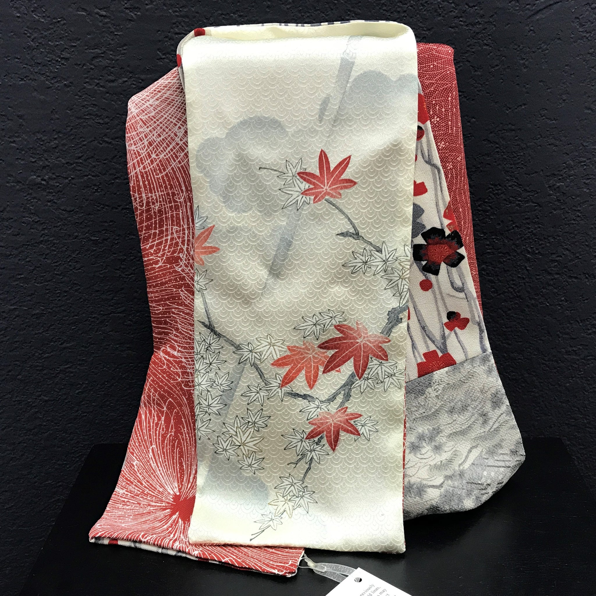 Silk Scarf - Red, Grey and Cream