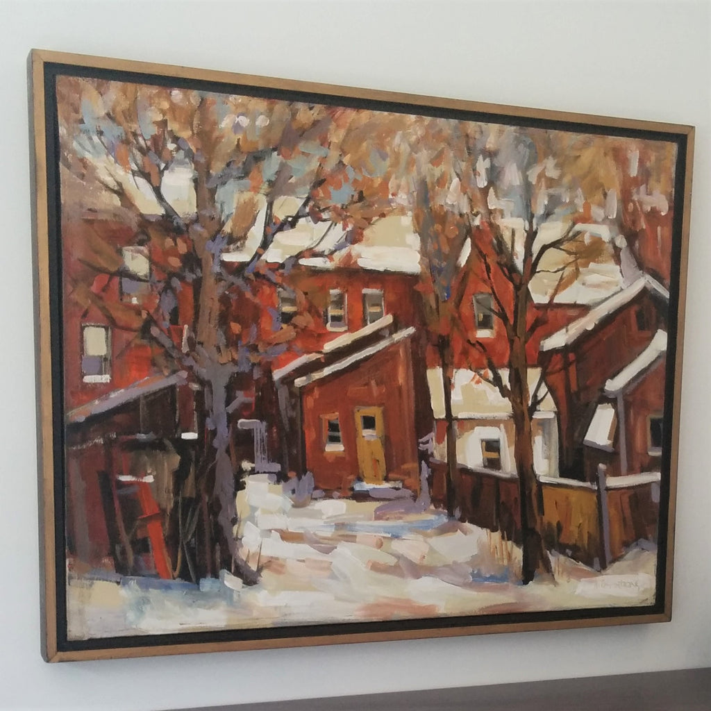 Painting of the backyards of Cabbagetown by Canadian Painter, David Armstrong