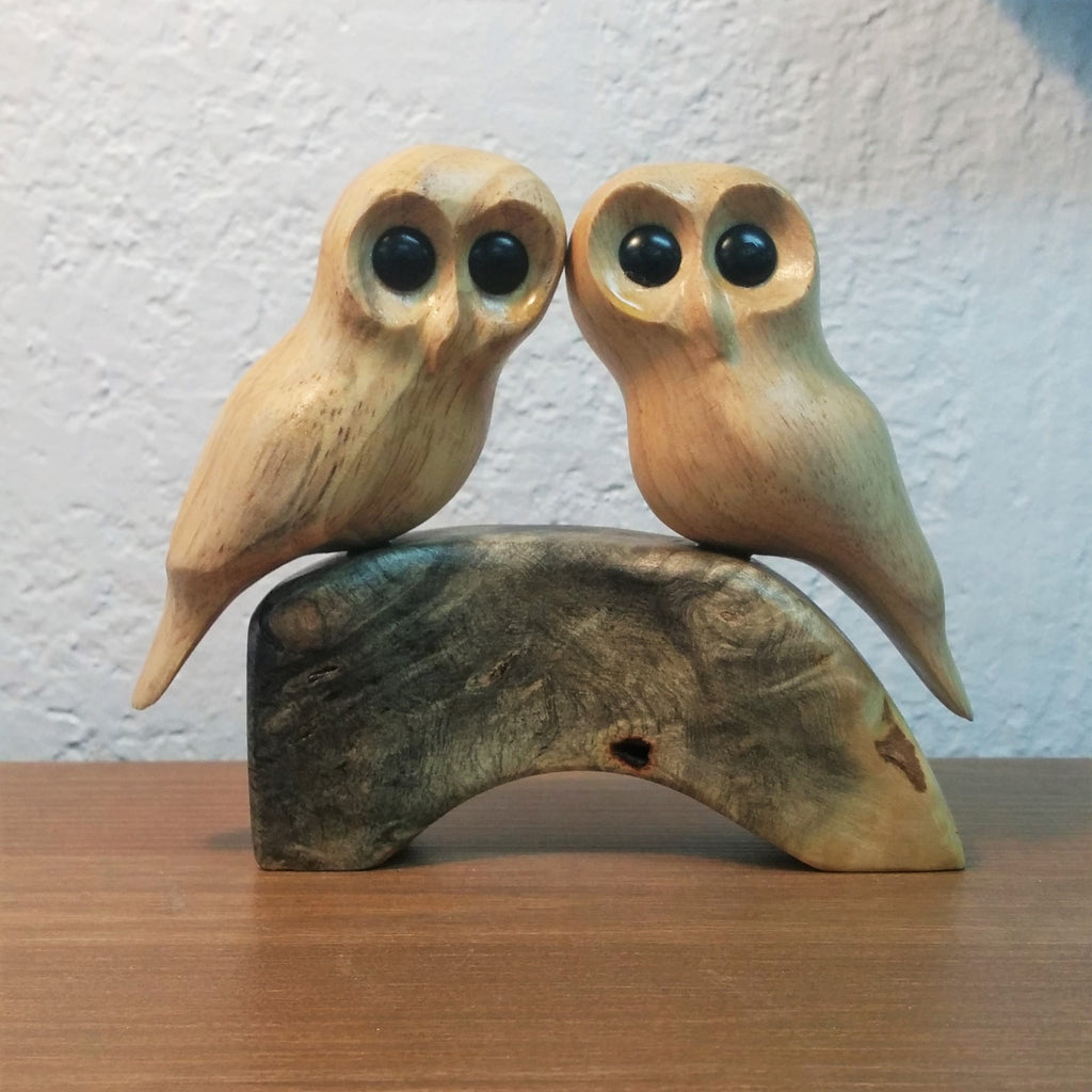 Hand Carved Pair of Owls