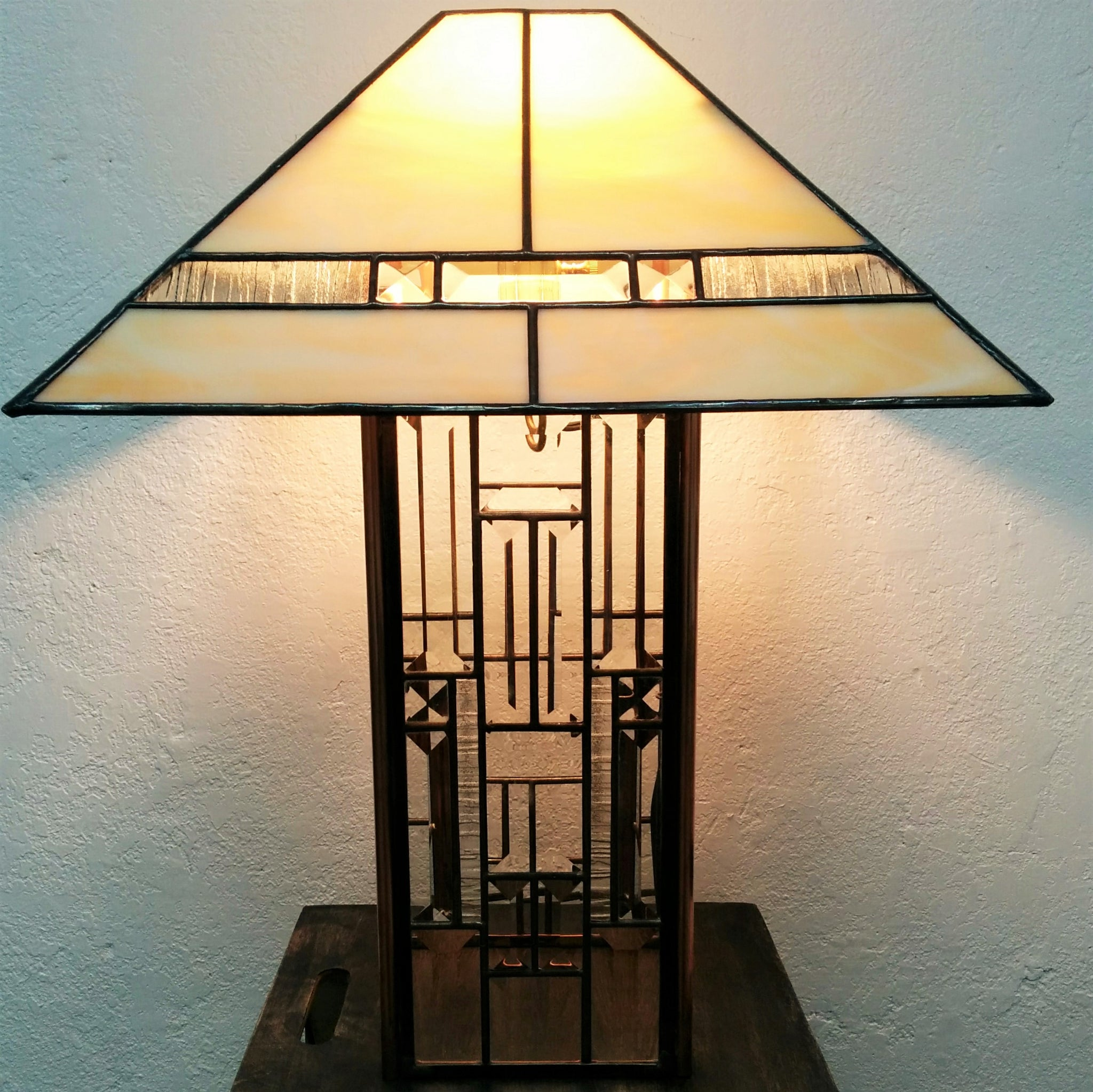 Beveled Glass and Copper Lamp