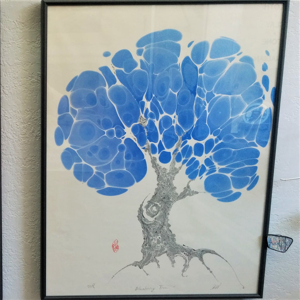 "Framed Marbled Graphic - ""Blueberry Tree"""