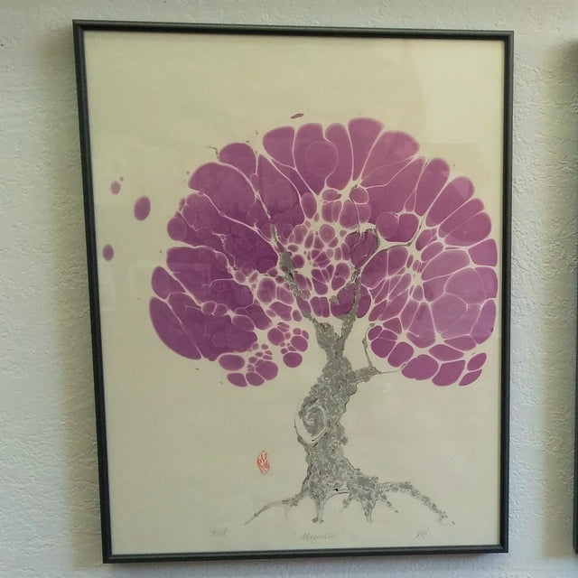 "Framed Marbled Graphic - ""Magnolia"""