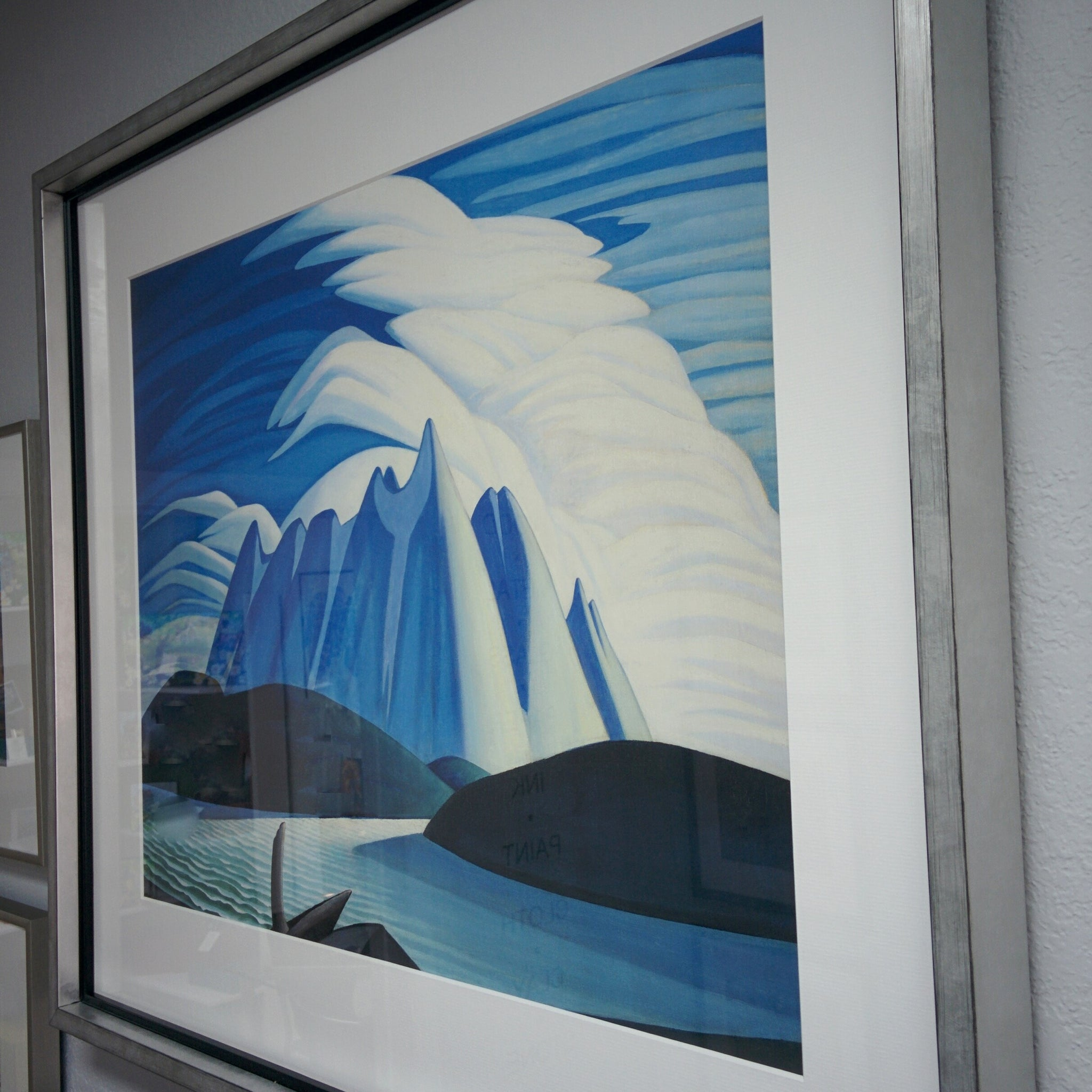 Group of Seven large framed print of Lawren S. Harris painting, Lake and Mountains, 1928