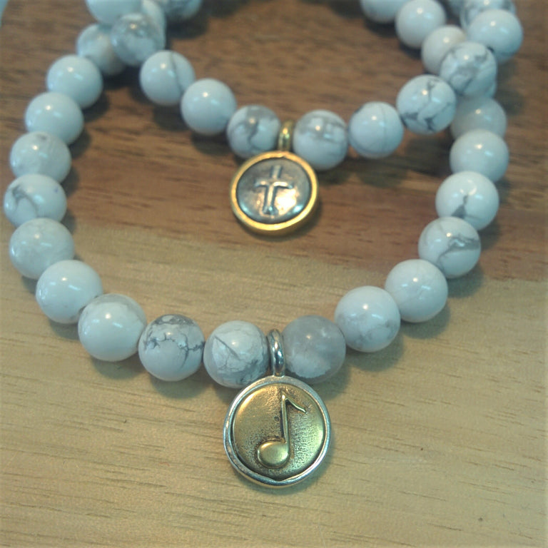 Howlite Bracelet with Bronze and Silver Charm