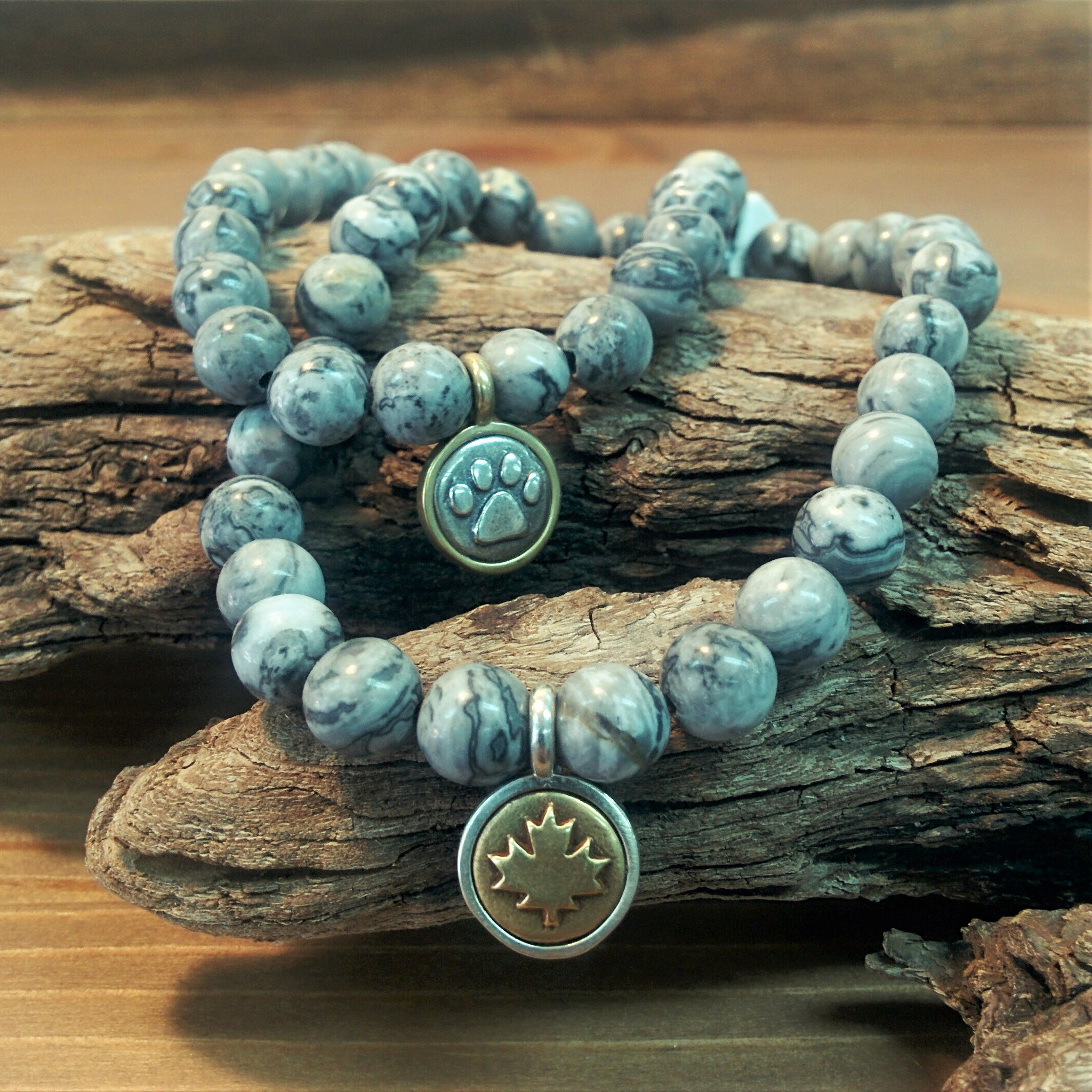 Map Stone Bracelet with Bronze and Silver Charm
