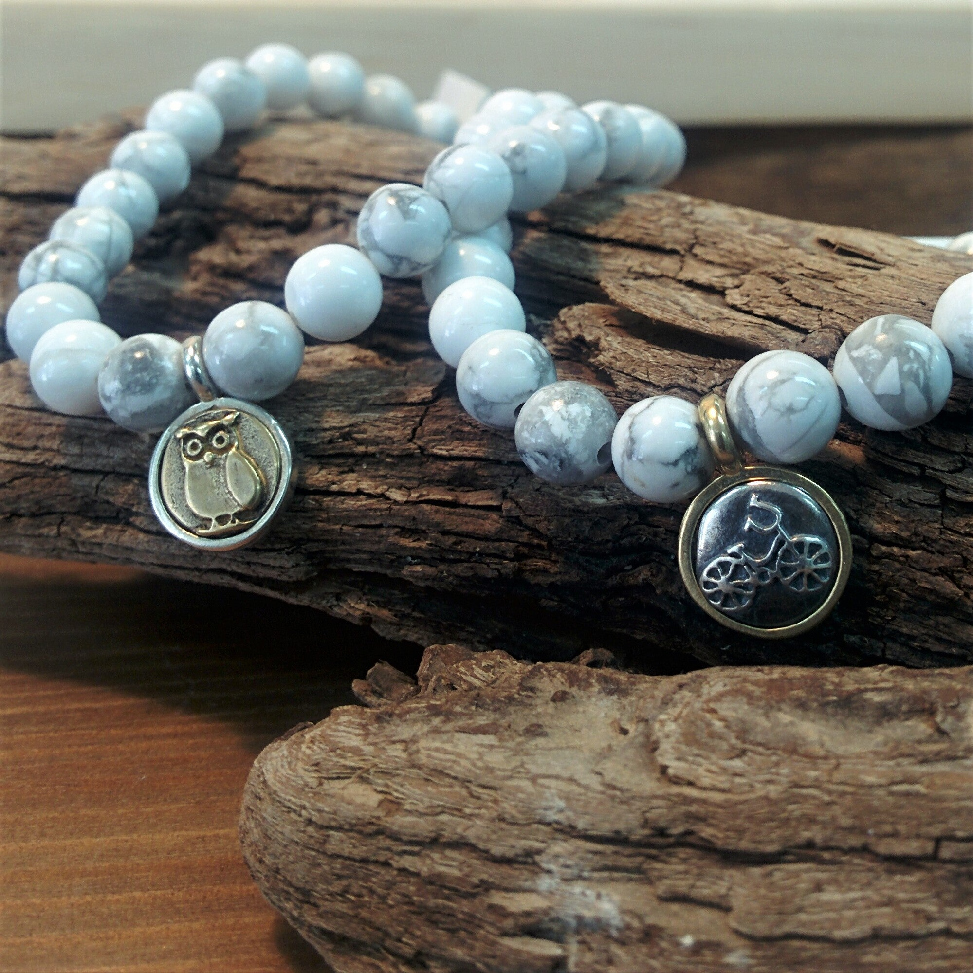 howlite bracelet with charm handmade in Canada by Kate Singer