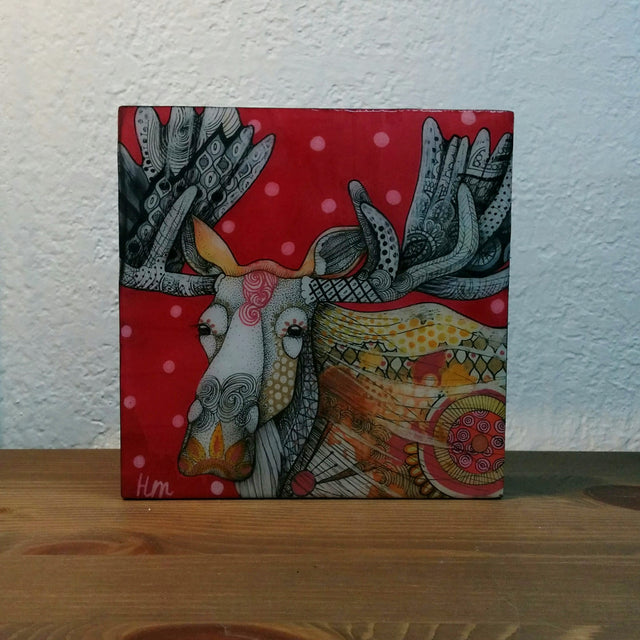 Original Work - Red and White Polka Dot Moose