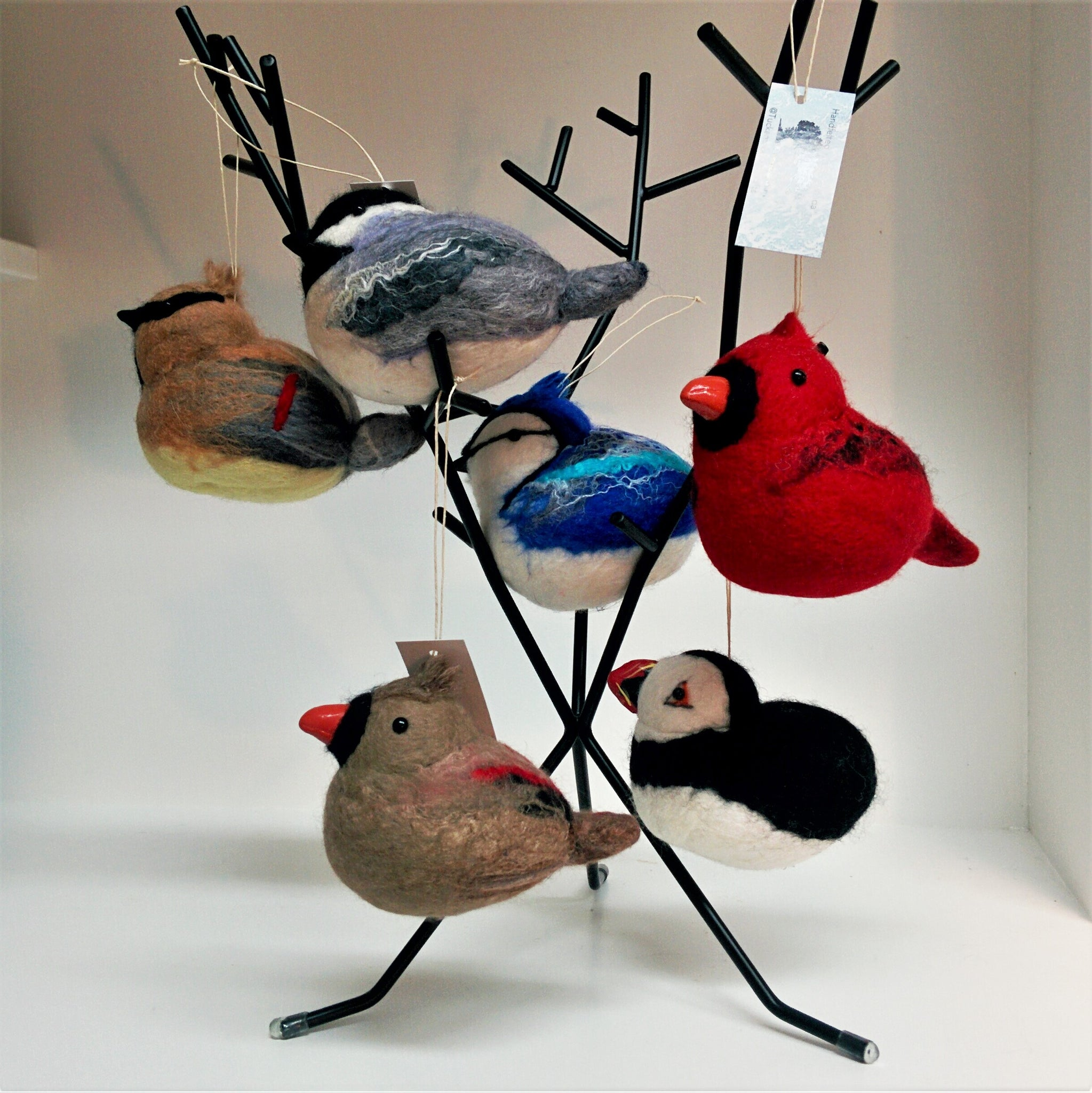 "Wool Sculpture - Cedar Waxwing (4"")"