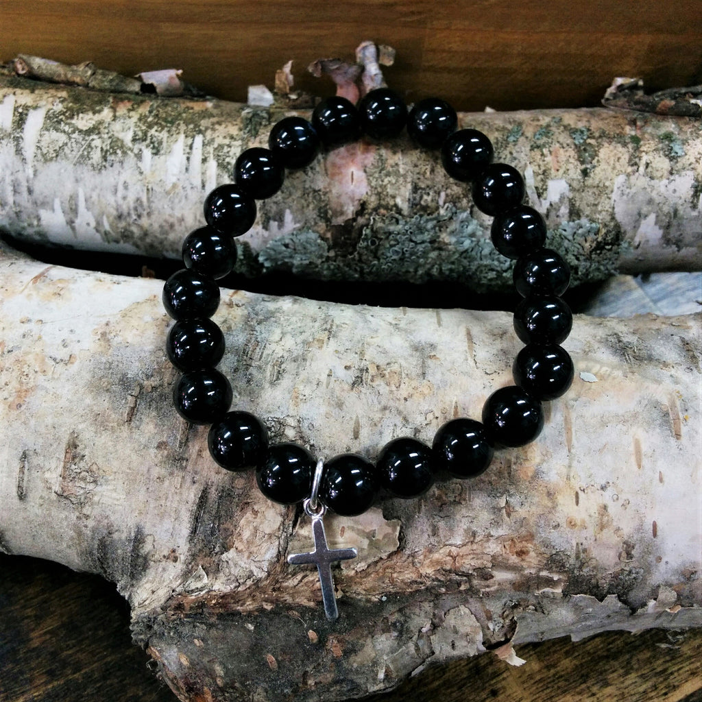 Stone Bracelet - Black Onyx with Sterling Silver Cross Charm