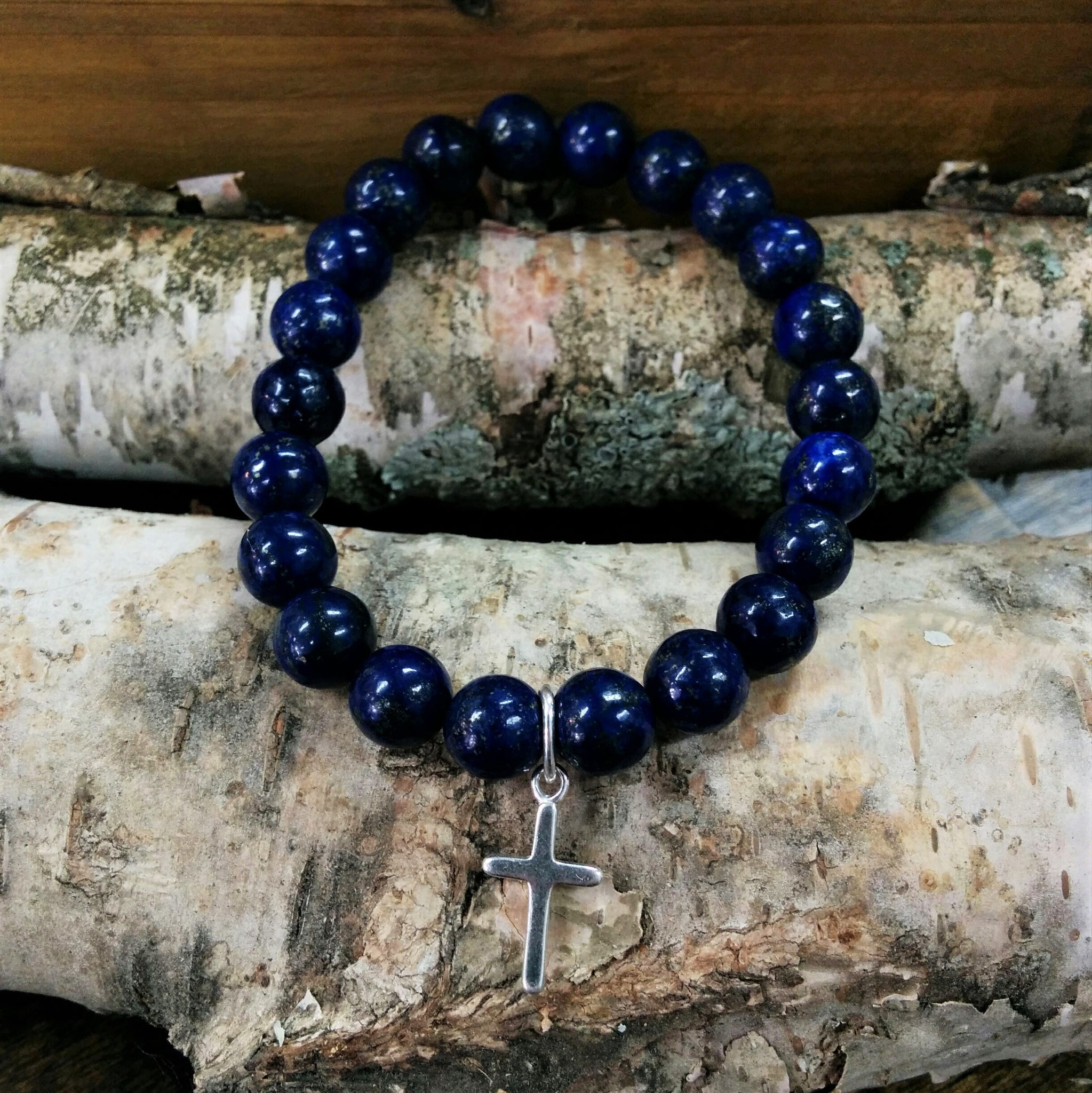 Stone Bracelet - Lapis Lazuli with Sterling Silver Cross Charm