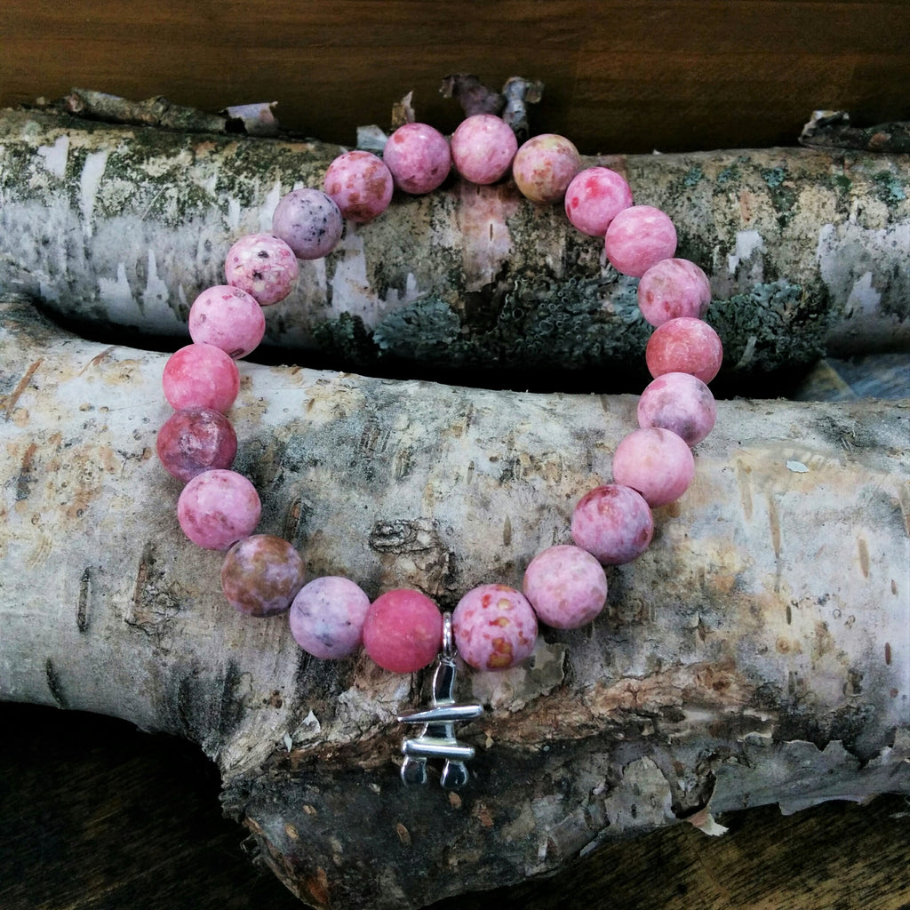 Stone Bracelet - Pink Agate with Sterling Silver Inukshuk Charm
