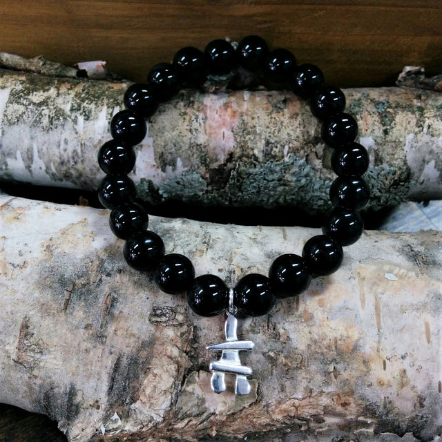 Stone Bead Bracelet - Black Onyx with Sterling Silver Inukshuk Charm