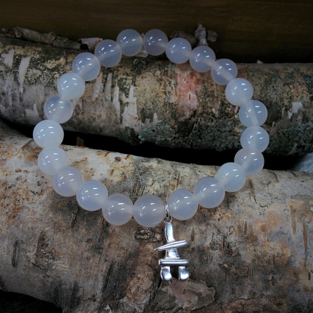 Stone Bracelet - Clear Quartz with Sterling Silver Inukshuk Charm