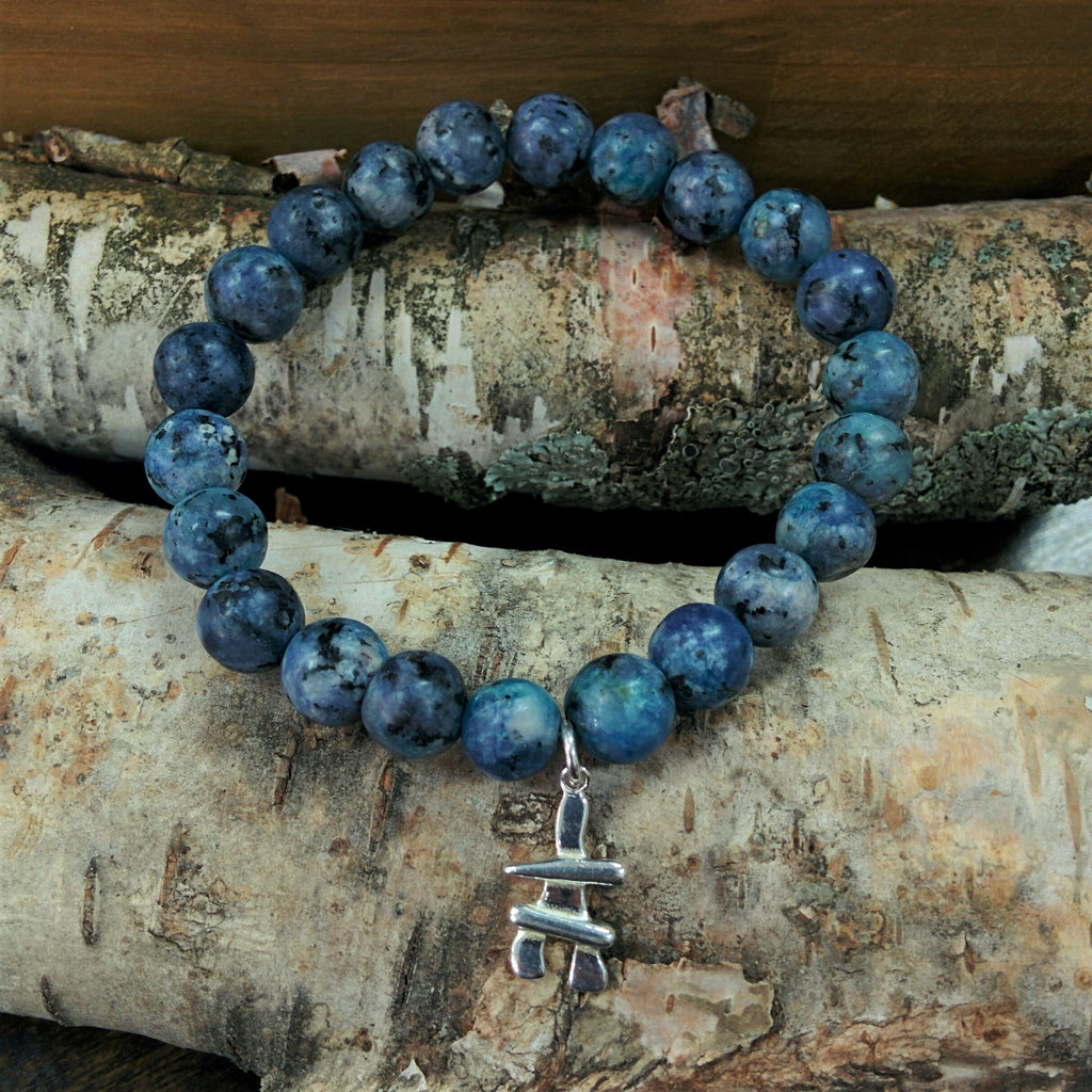 Stone Bracelet - Blue Agate with Sterling Silver Inukshuk Charm