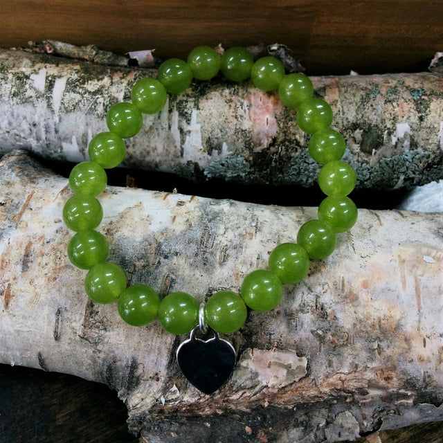 Stone Bracelet - Jade with Sterling Silver Heart Charm