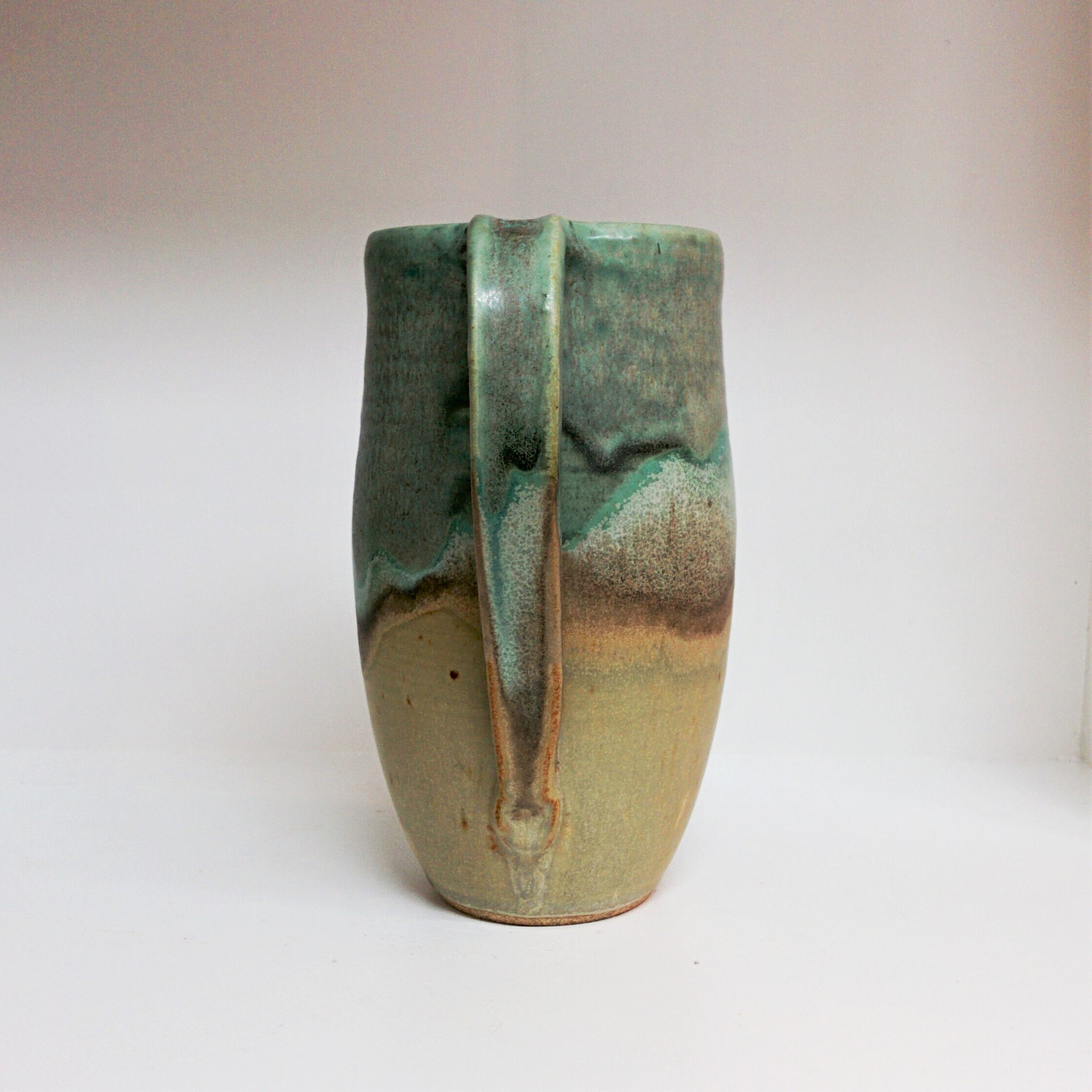 Pottery Pitcher - Turquoise and Toast