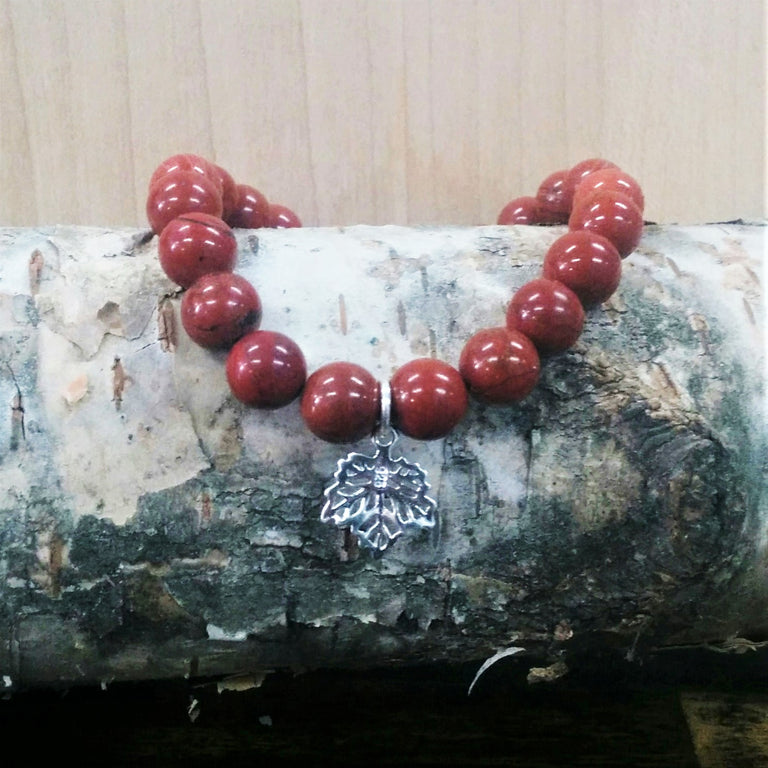 Stone Bracelet - Red Jasper with Sterling Silver Maple Leaf Charm