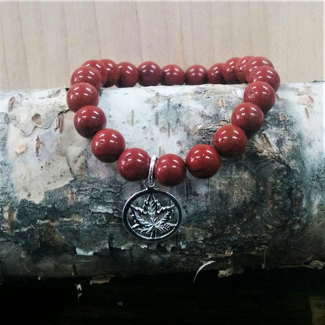 Stone Bracelet - Red Jasper with Round Sterling Silver Maple Leaf Charm