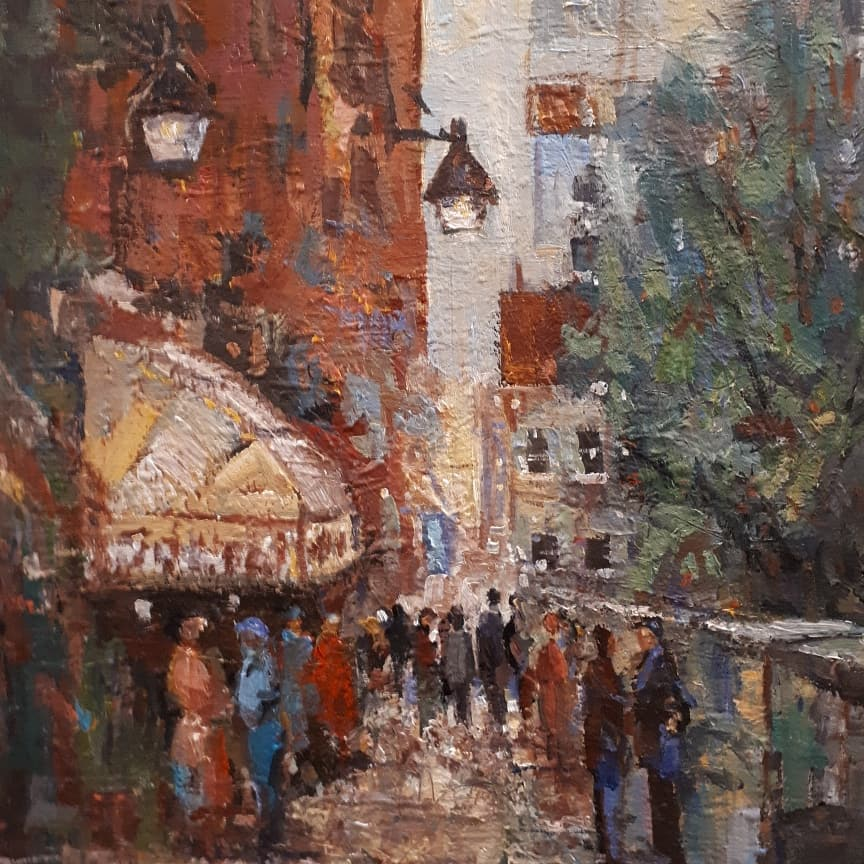 Original Painting, Oil - LOWER TOWN, PQ