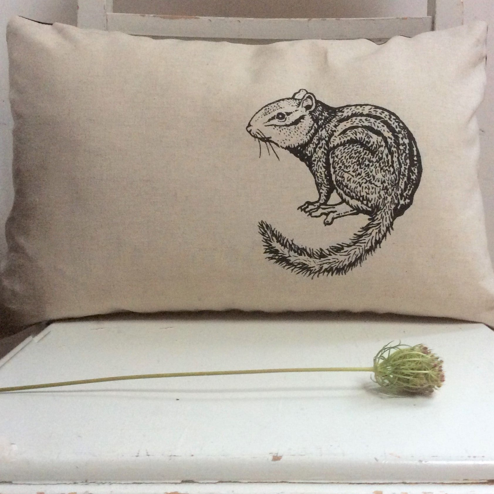 Wildlife Illustration Pillowcase and Pillow - Chipmunk