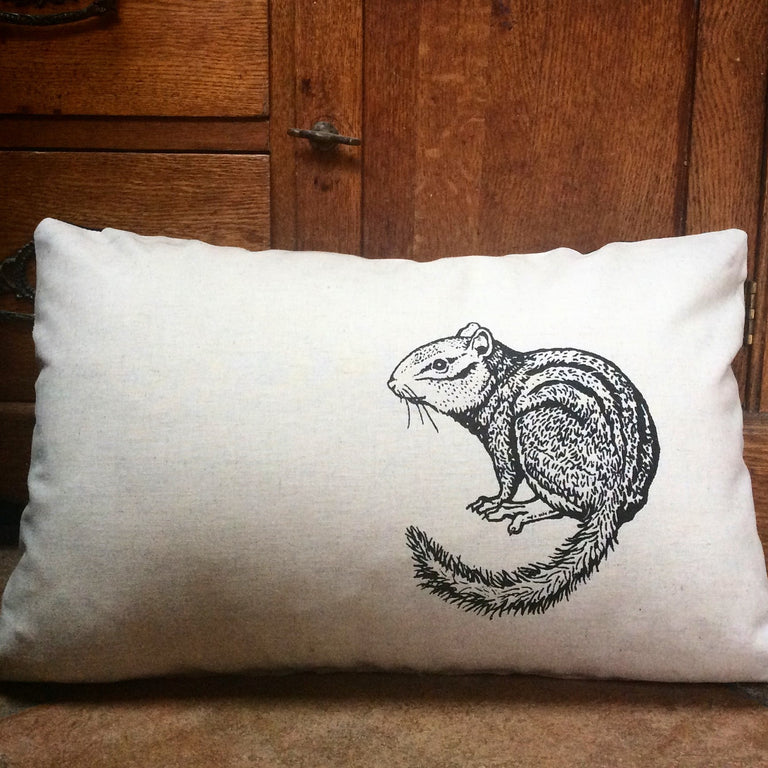Illustrated Chipmunk silkscreened onto pillowcase with pillow