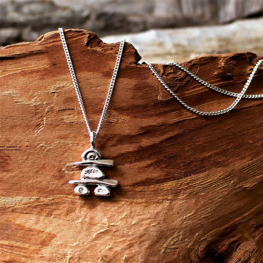 Handmade sterling silver inukshuk necklace