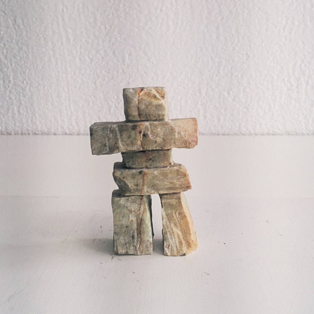Handcarved Soapstone Inukshuk by Canadian Carver
