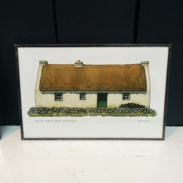 Framed Irish Print - Thatched Cottage with Green Door
