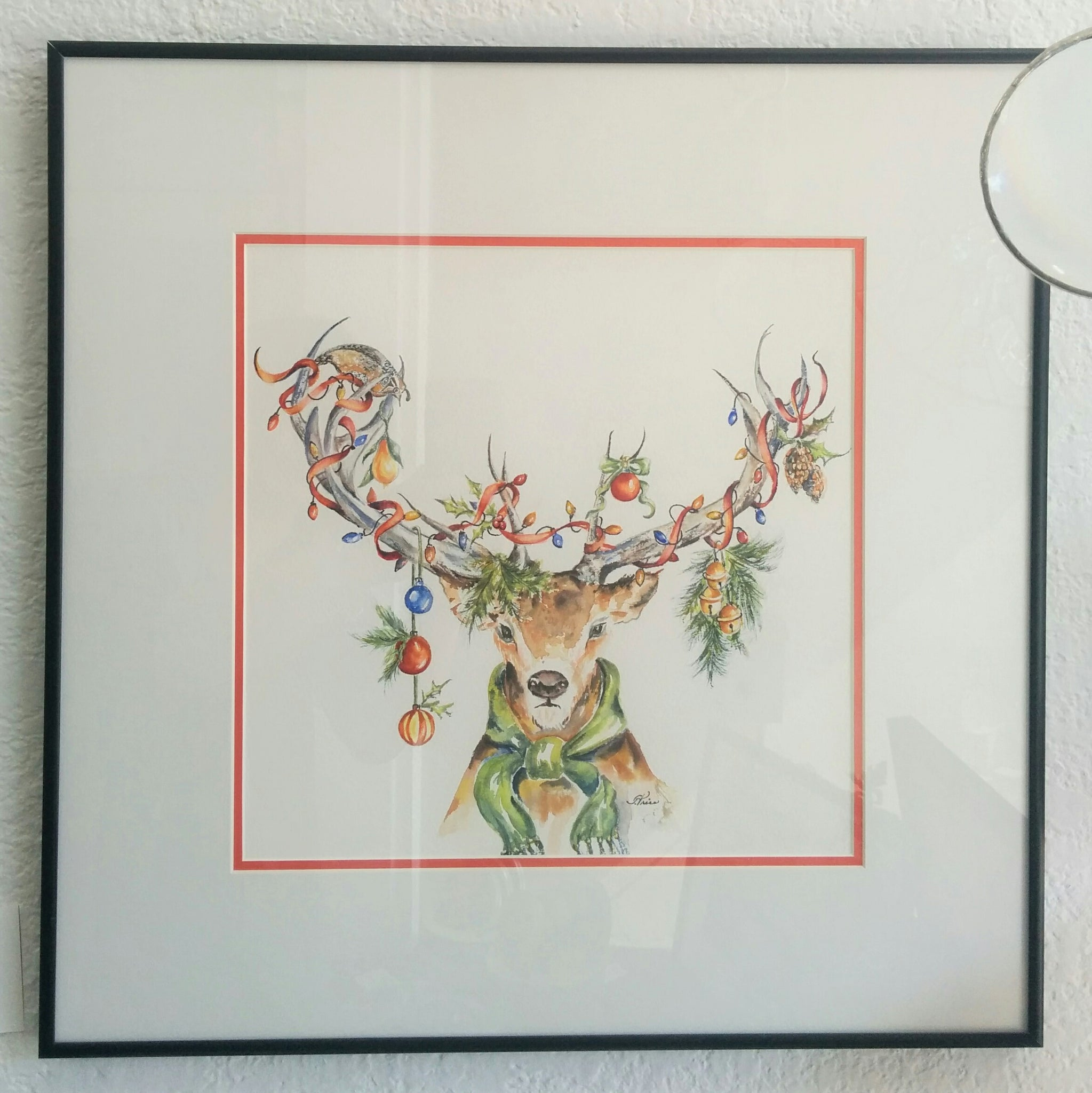 Framed Original Watercolour - It Came Upon A Midnight Deer