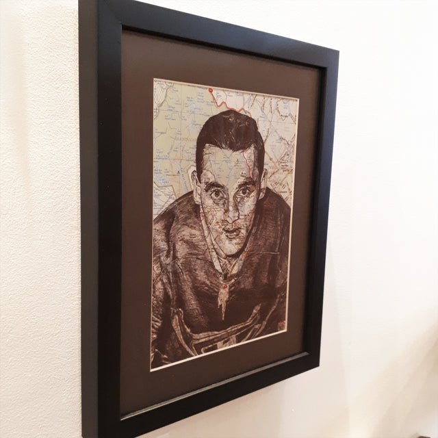 Original Pen and Ink Drawing on map - JACQUES PLANTE