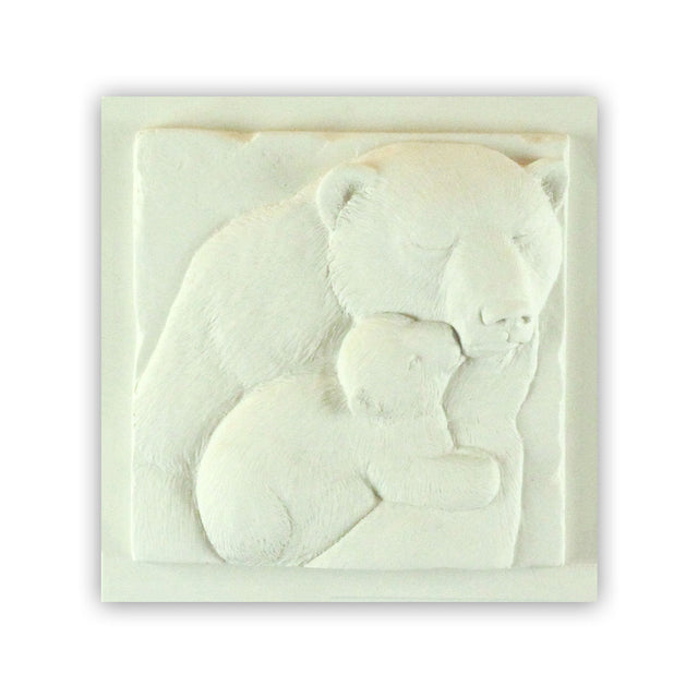 Sculpted Cast Hydrostone - Bear & Cub - White Finish