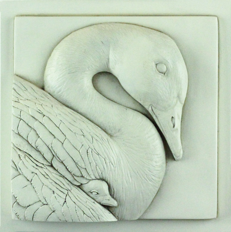 Sculpted Cast Hydrostone - Goose & Gosling - Antique Finish