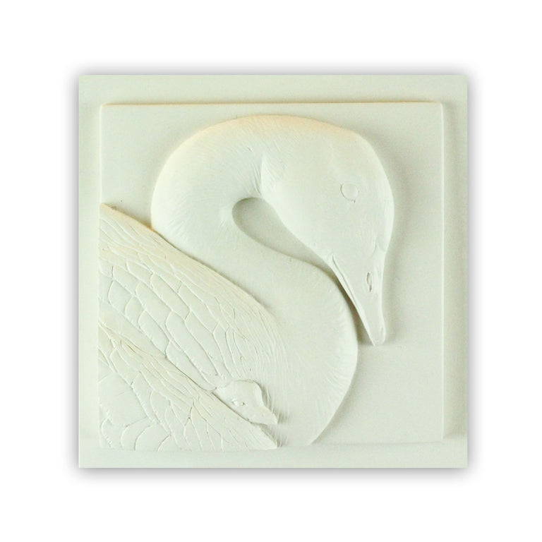 Sculpted Cast Hydrostone - Goose & Gosling - White Finish