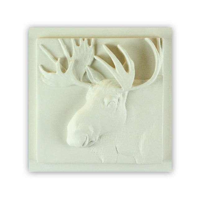 Sculpted Cast Hydrostone - Moose - White Finish